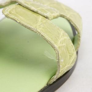 LAURENT-EFFEL-Green-alligator-open-toe-low-heel-flats-size-35-US-5_245981H.jpg