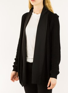 LES COPAINS Black Knit Cardigan with Shawl Collar