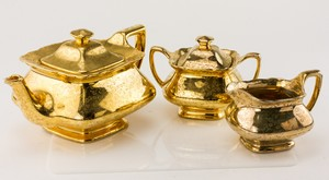 LIDO W.S. GEORGE Canary Tone 22k Gold 3-Piece China Set