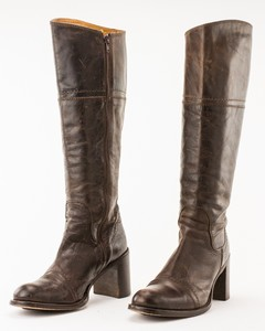 LOGAN Brown Leather Distressed Tall Boots