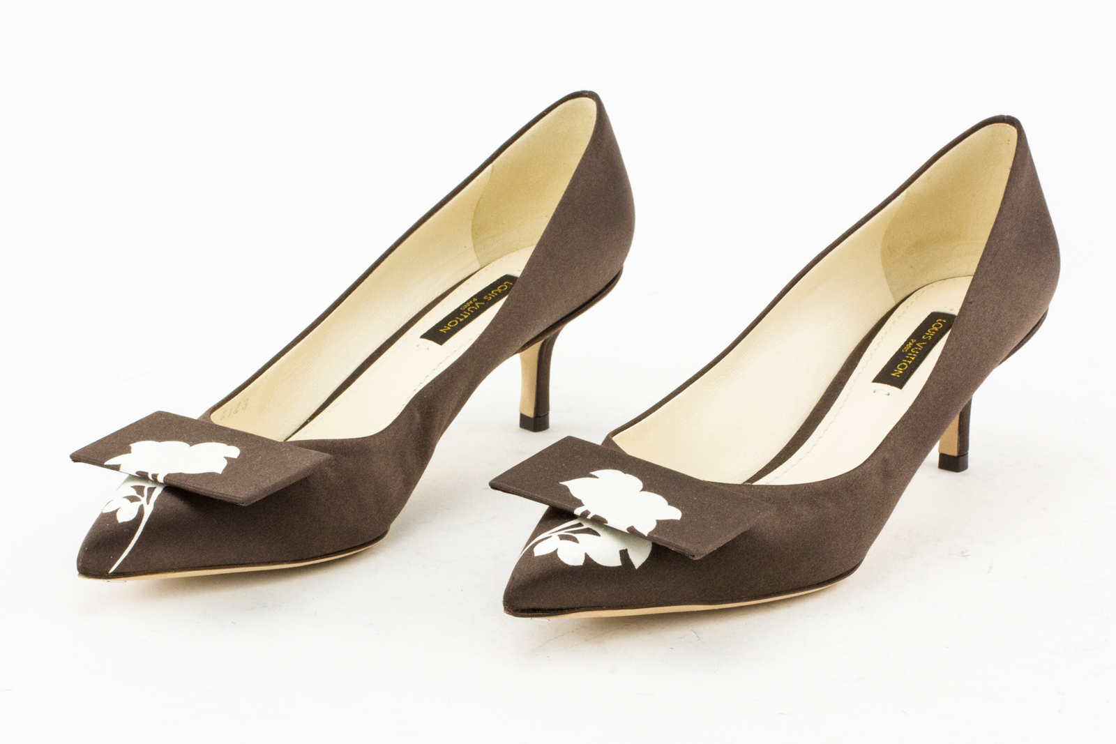 LOUIS VUITTON Brown Satin Pointed Toe Kitten Heel Pumps with Floral ...