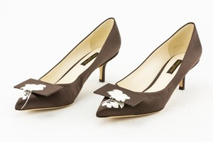 LOUIS VUITTON Brown Satin Pointed Toe Kitten Heel Pumps with Floral Accent