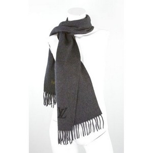 LOUIS VUITTON Charcoal gray fringed cashmere scarf new in box