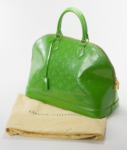 LOUIS VUITTON Green Patent Leather Large Vernis Alma w/ LV Monogram Embossed