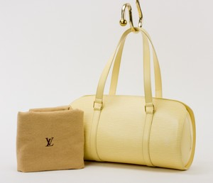 LOUIS VUITTON Pale Yellow Soufflot Handbag in Epi Leather w/ Attached Baby Pouch