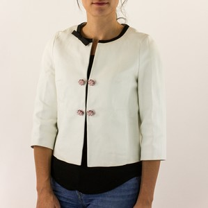 LOUIS VUITTON White Leather Jacket w/ Black Contrast Trim & Pink Beaded Buttons