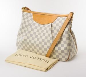 Louis Vuitton Cream & Blue Damier Azur Siracusa MM Canvas Shoulder Bag Tan Trim
