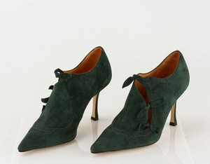 MANOLO BLAHNIK Green Suede Short Pointed Toe Booties with Bow Accents