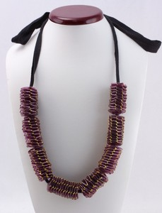 MARNI Purple Bunched Woven Acrylic w/ Silk Tie Up Necklace