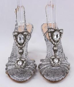 MARY NORTON Silver brocade rhinestone adorned stiletto sandal size 38.5 (US 8.5)