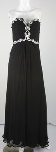 MELINDA ENG black silk bustier with white trim evening dress size 8