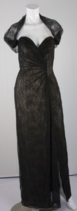 MICHAEL CASEY Black and tan silk blend bustier dress with lace trim size 12