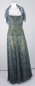 MICHAEL CASEY Teal and gold silk blend bustier dress with beaded lace size 8
