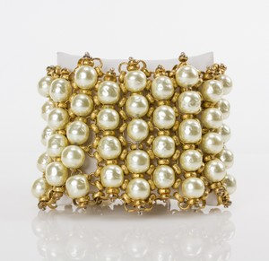 MIRIAM HASKELL Gold Chain & Pearl Woven Cuff Bracelet