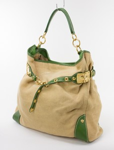 MIU MIU Tan Woven Extra Large Tote w/ Green Leather Trim