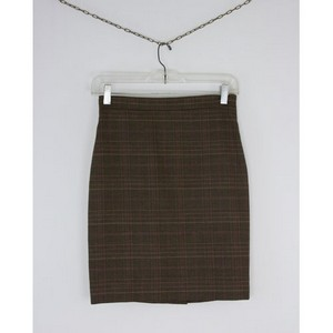 MOSCHINO Brown plaid wool pencil skirt size 4