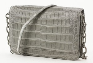 NANCY GONZALES Gray Crocodile Small Shoulder Bag with Skin Strap