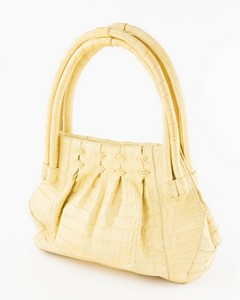 NANCY GONZALES Yellow Crocodile Shoulder Bag