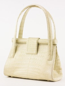 NANCY GONZALEZ Cream Top Handle Crocodile Skin Shoulder Bag