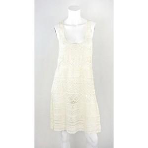 NANETTE LEOPORE Cream crochet sleeveless tank dress size L NWT