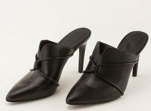 NINE WEST Black Leather Pointed Toe Slip-on Pumps