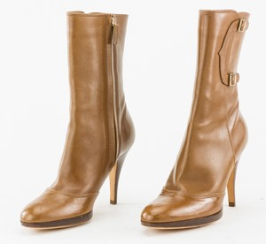 "OSCAR DE LA RENTA Tan leather stiletto boots size 6 EU 36 4"" heel"