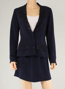PAMELA DENNIS Navy Blue Silk Skirt Suit w/ Beaded Floral Design Size 4