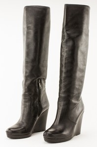PRADA Black Leather Knee High Wedge Boots