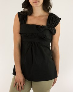 PRADA Black Wide Strap Tank with Bow Accent