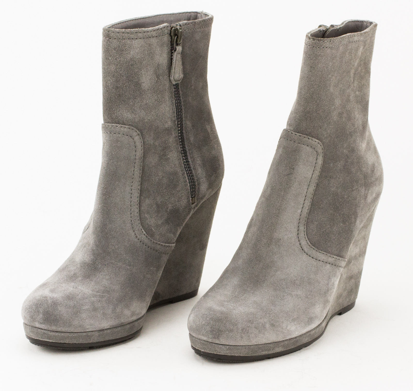 PRADA Gray Suede Wedge Ankle Booties   Penny Pincher Boutique 4139d11f5f2
