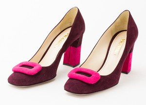 PRADA Magenta Color Block Suede Chunky Heel Pumps