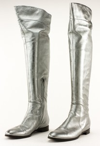 SERGIO ROSSI Silver Knee High Flat Boots