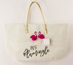 SHIRALEAH Cream Let's Flamingle Tote