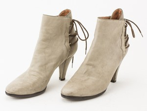 SIGERSON MORRISON Gray Leather Short Booties with Rear Lace Up Accent