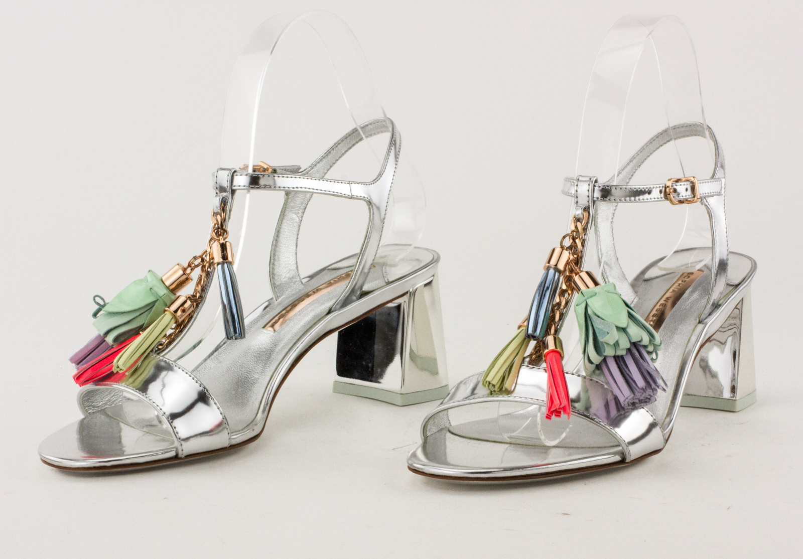 b3728fcb5 ... Sandals with Tassel Accent · SOPHIA-WEBSTER-Silver-Metallic-T-Strap-Block-Heel-  ...