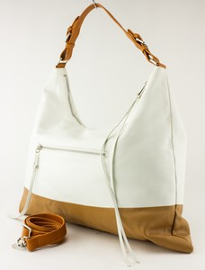 SORIAL White and Brown Color Block Leather Hobo Bag