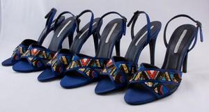 STELLA MCCARTNEY Blue satin beaded open toe ankle strap stiletto sandals