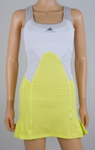 STELLA MCCARTNEY White and yellow ruffled pleat under-bra tennis dress size 32