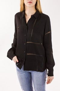 STELLA McMARTNEY Black Rayon Top with Sheer Accents