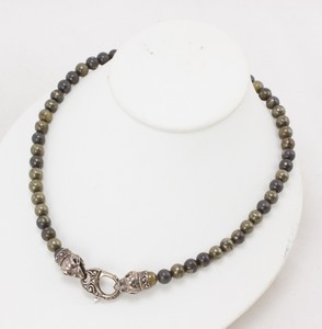 STEPHEN WEBSTER Pyrite Bead Necklace w/ Sterling Silver Decorative Clasp