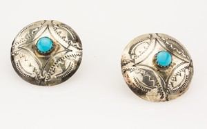 STERLING Silver Large Button Earrings with Turquoise Center