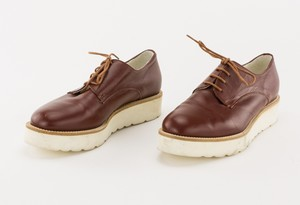 STRENESSE Brown Leather Platform Lace Up Oxfords
