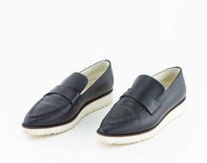 STRENESSE Navy Leather Loafers with White Platform Heel