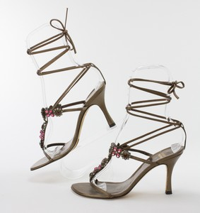 STUART-WEITZMAN-Bronze-Lace-Up-Kitten-Heels-w-Pink--Orange-Floral-Jewels-Size-8_255743B.jpg