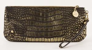 STUART WEITZMAN gold and black mock crocidile clutch