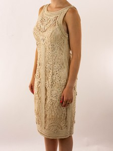 SUE WONG Tan Scrolled Sleeveless Dress with Flower Detailing