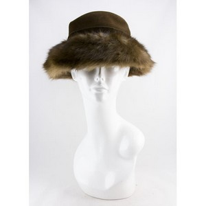 SUZANNE COUTURE MILLINERY Brown wool hat with mink fur trim
