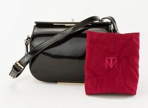 TAMARA MELLON Black Patent Leather Small Box Cross Body Bag