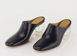 THE ROW Navy Leather Clogs with Lucite Heel Mules