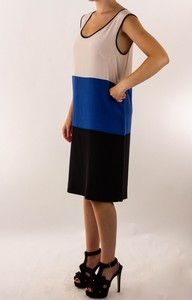 TIBI Cream and Blue Striped Silk Tank Dress
